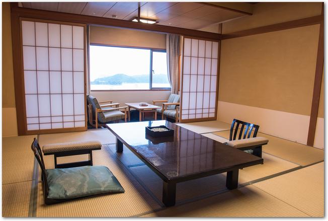 座椅子と机が置かれた畳敷きの旅館の和室
