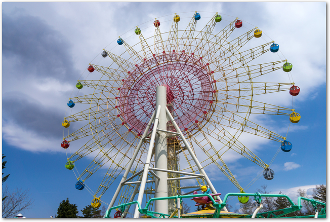 青空と軽井沢おもちゃ王国の観覧車の光景