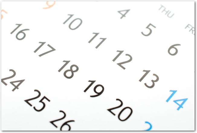 シンプルなマンスリーカレンダーのアップ