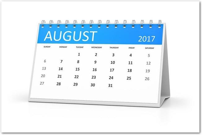 2017年8月の卓上カレンダー