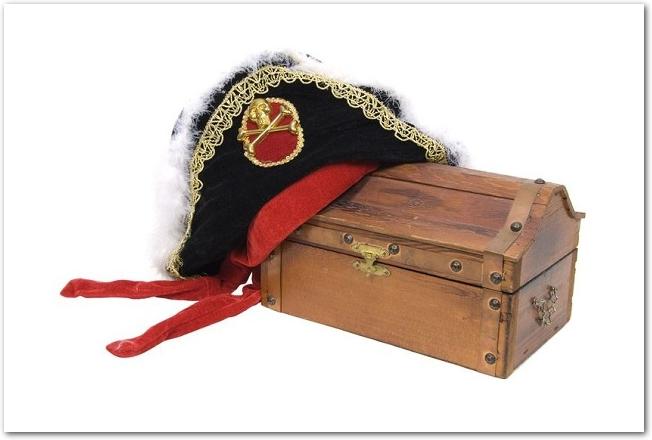 宝箱の上に海賊の帽子が置いてある様子