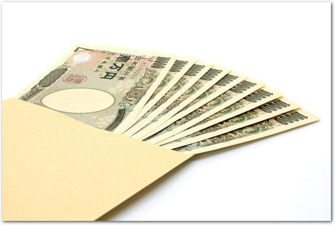 茶封筒に入った数枚の一万円札